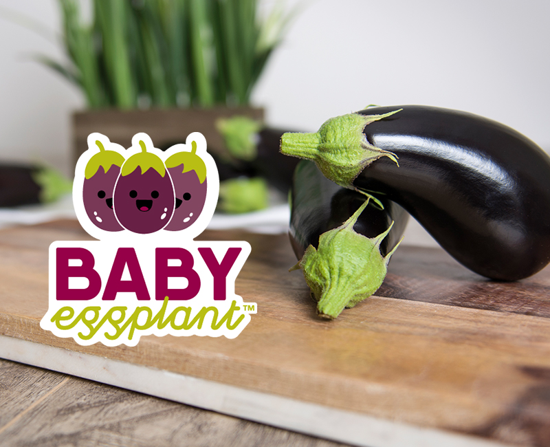 Baby eggplants on a table