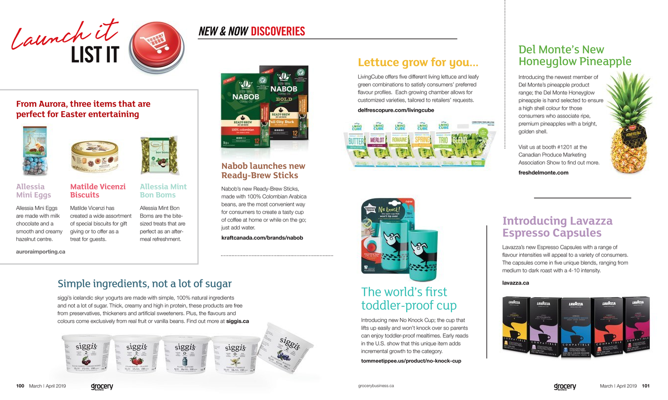 Grocery Business Magazine Page with featured products
