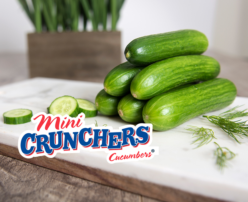 Mini Crunchers cucumbers on cutting board